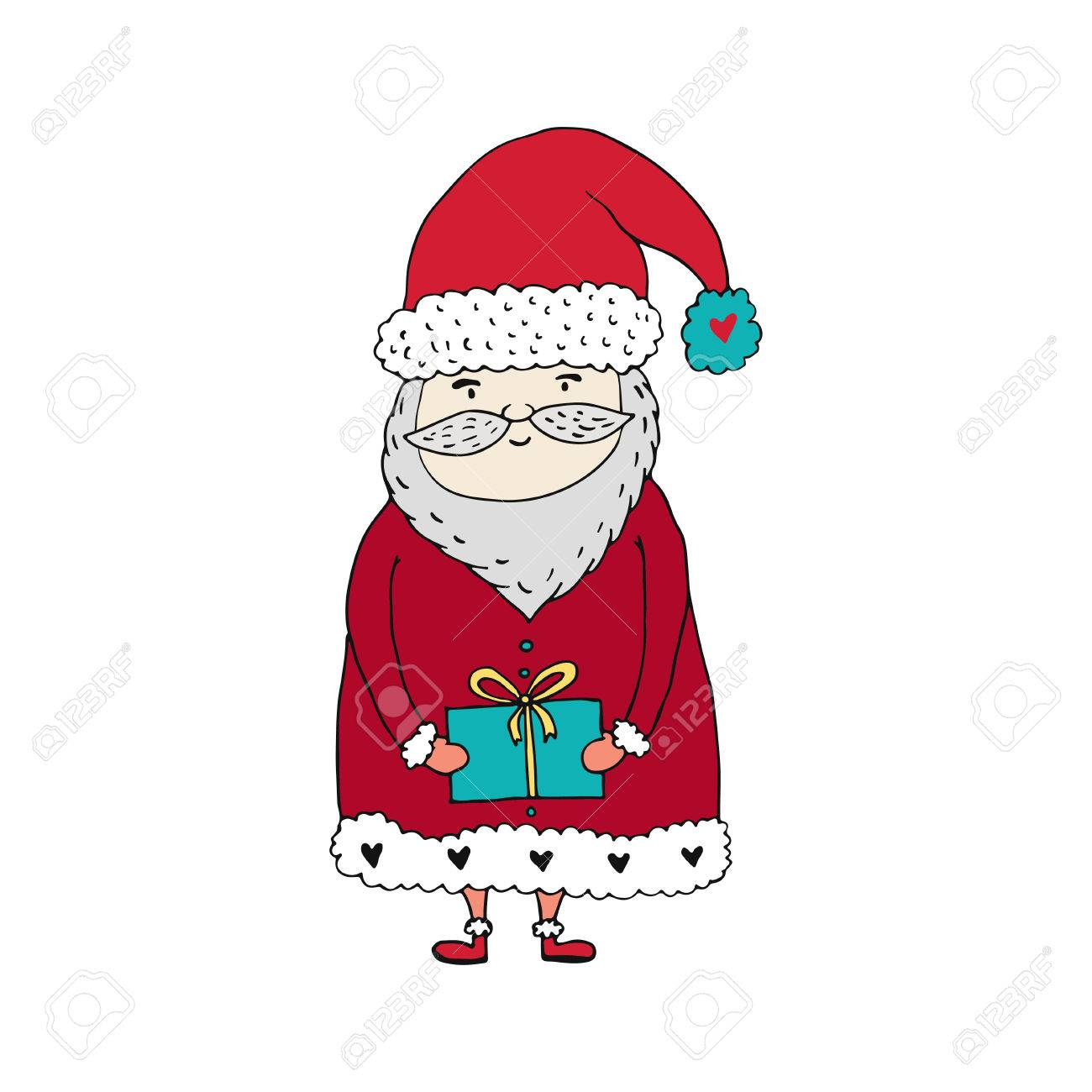 Santa claus cartoon character with gift box christmas and happy santa claus cartoon character with gift box christmas and happy new year illustration hand negle Image collections