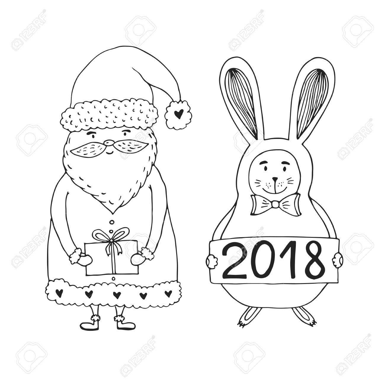 Personaje De Papá Noel Con Conejo. Diseño De Página De Libro Para ...