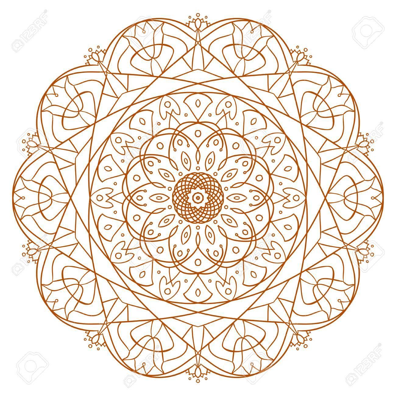Unique Mandala Design Ornamental Pattern For Coloring Book Page Circle Vector Art Henna