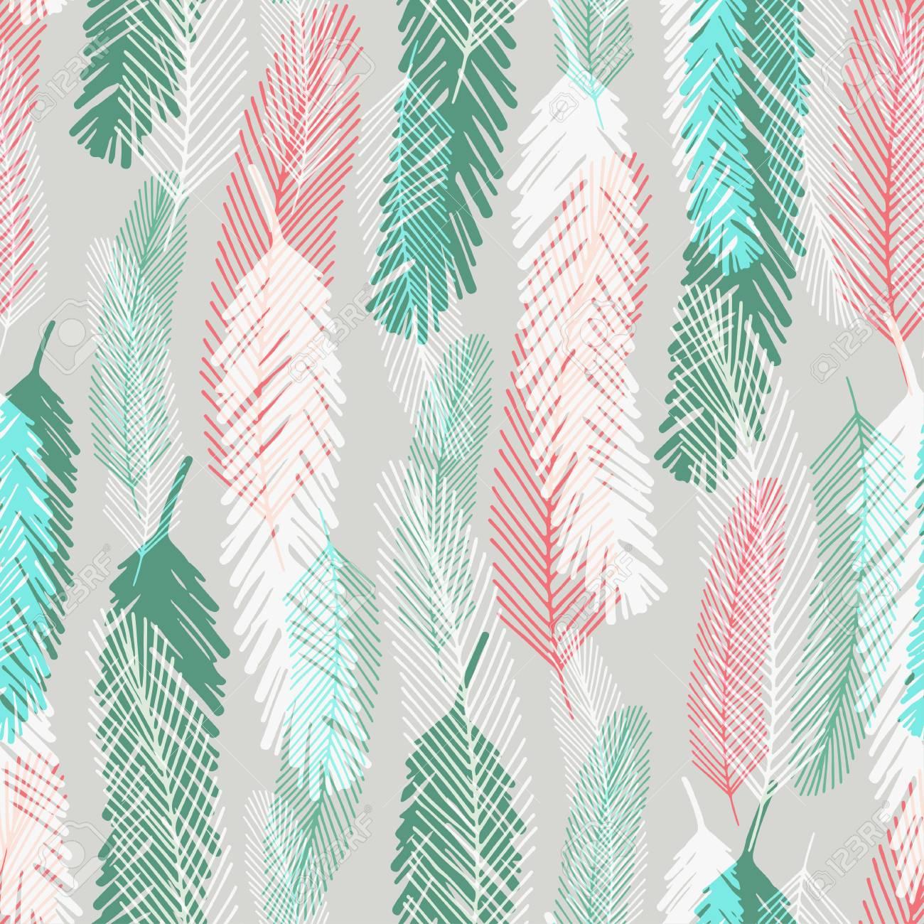Patrón Sin Costuras De Moda Con Plumas De Colores. Vector Textura ...