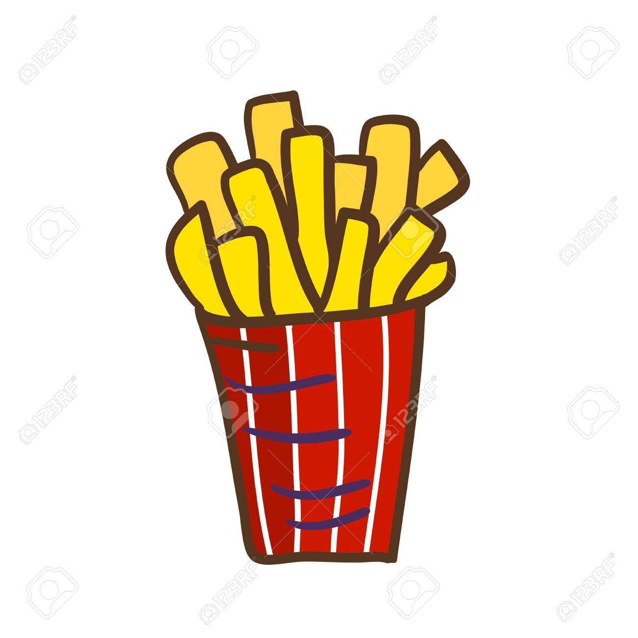 French fries icon  Fast food doodle badge  Funny vector print