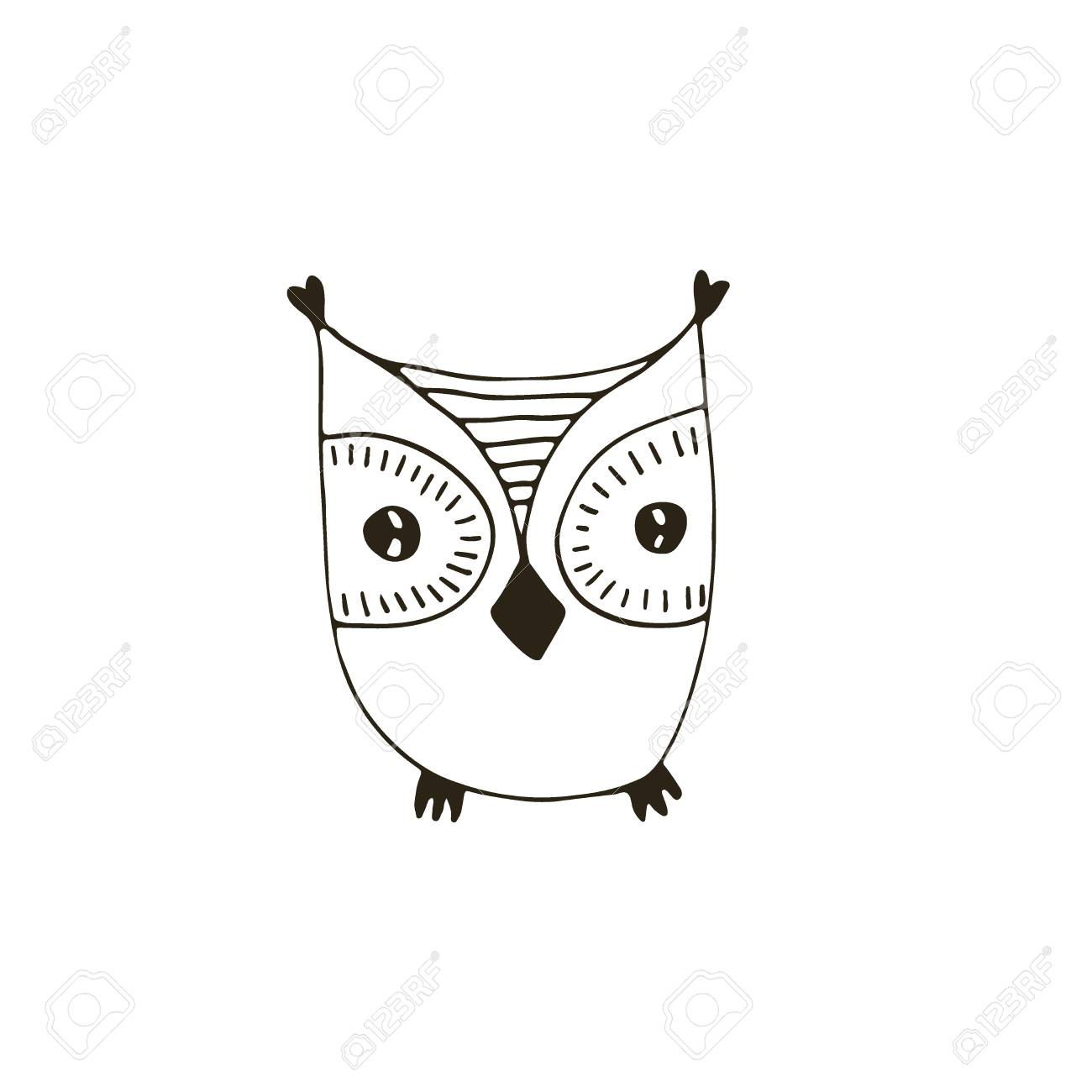 Bird Print Design Coloring Book Page Stock Vector