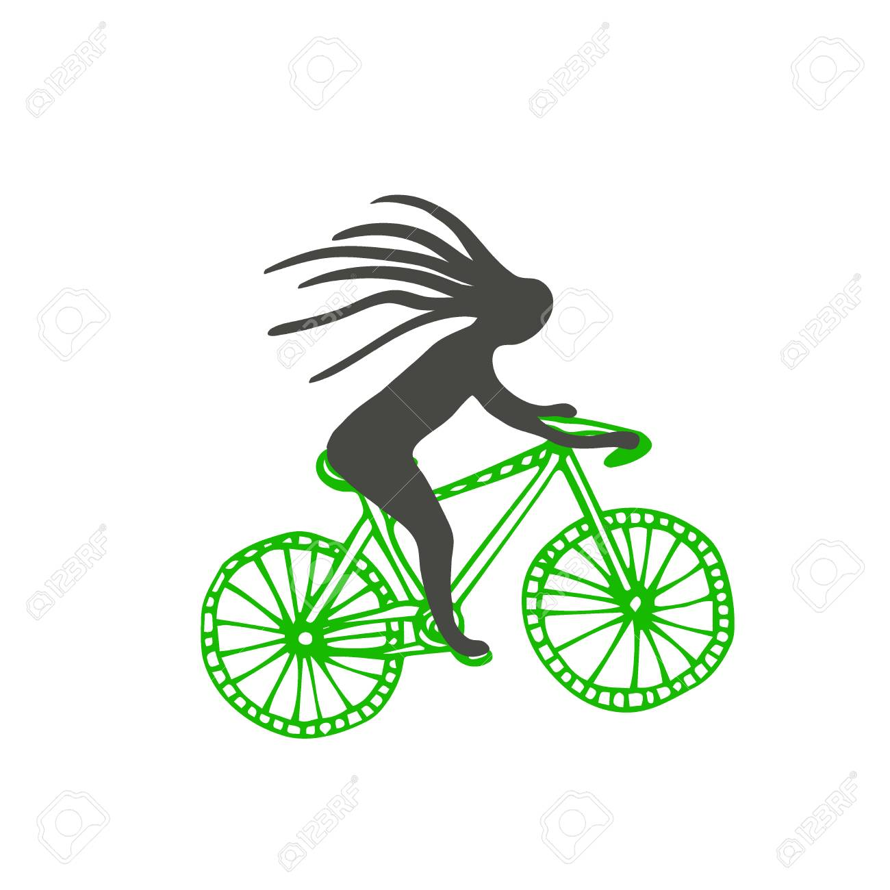 Bike with cyclist vector icon poster sticker design stock vector 103515371