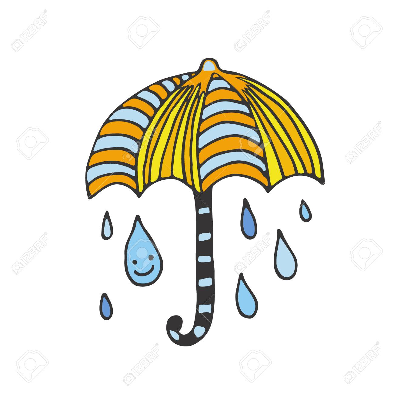 11350561c6d3 Happy Rain card. Doodle illustration. Sticker design. Vector..