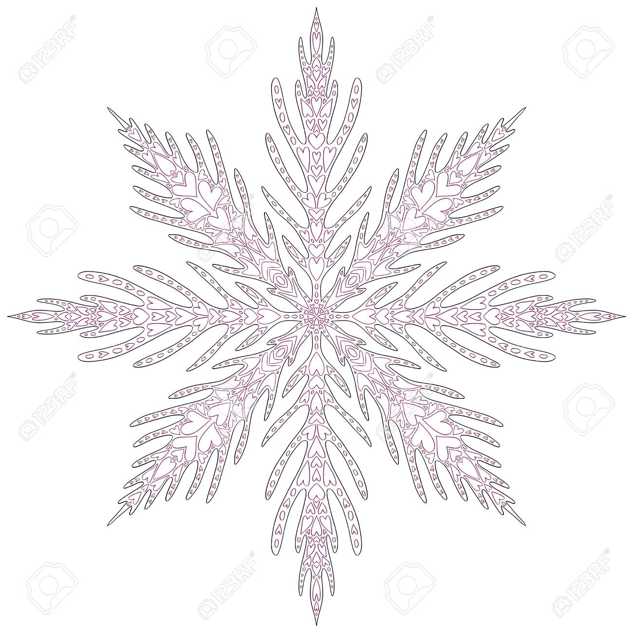 Unique Snowflake Christmas. Adult coloring page for New Year...