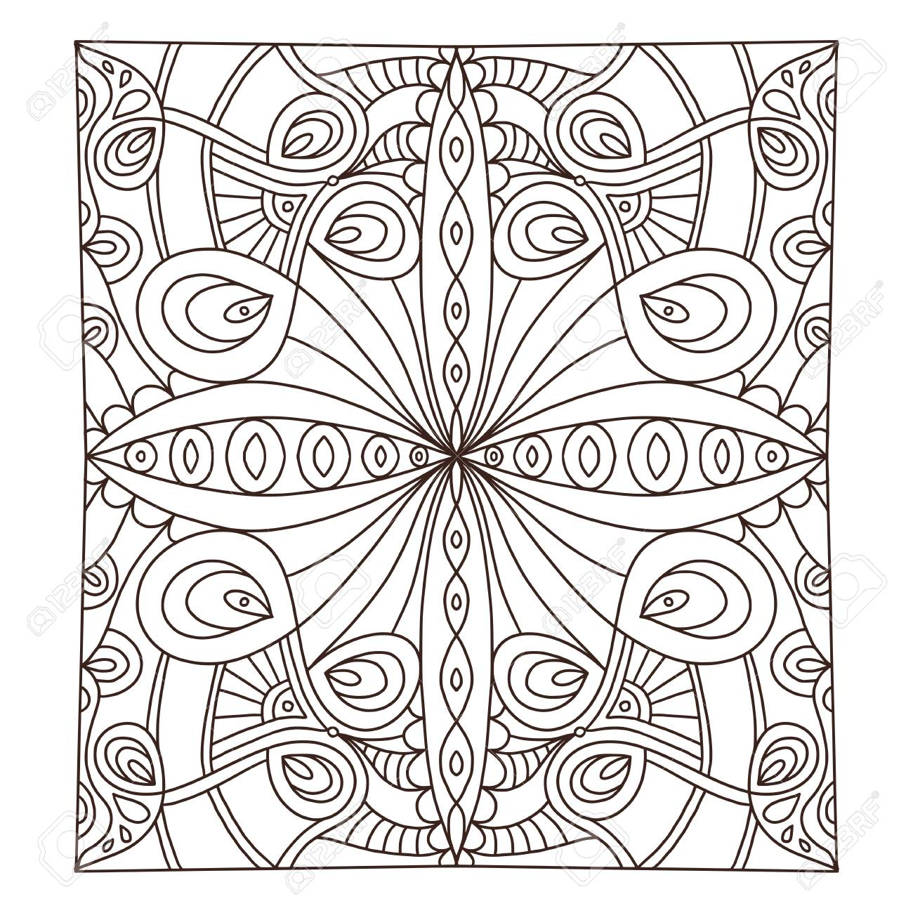 Carpet tile ornament pattern. Adult coloring book page. Interior..