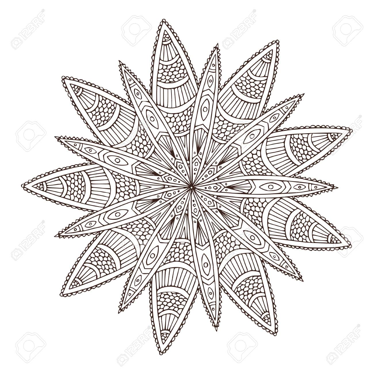 Ornamental geometric Mandala. Flower Tattoo art design. Carpet..