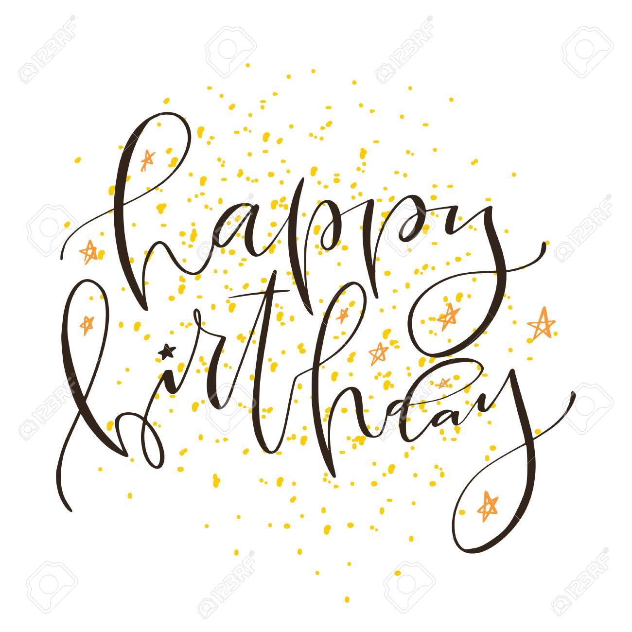 Handwritten modern calligraphy of Happy Birthday. Typography..