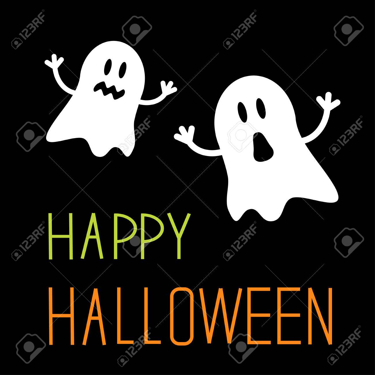Two Funny Halloween Ghosts Card Illustration Royalty Free Cliparts ...