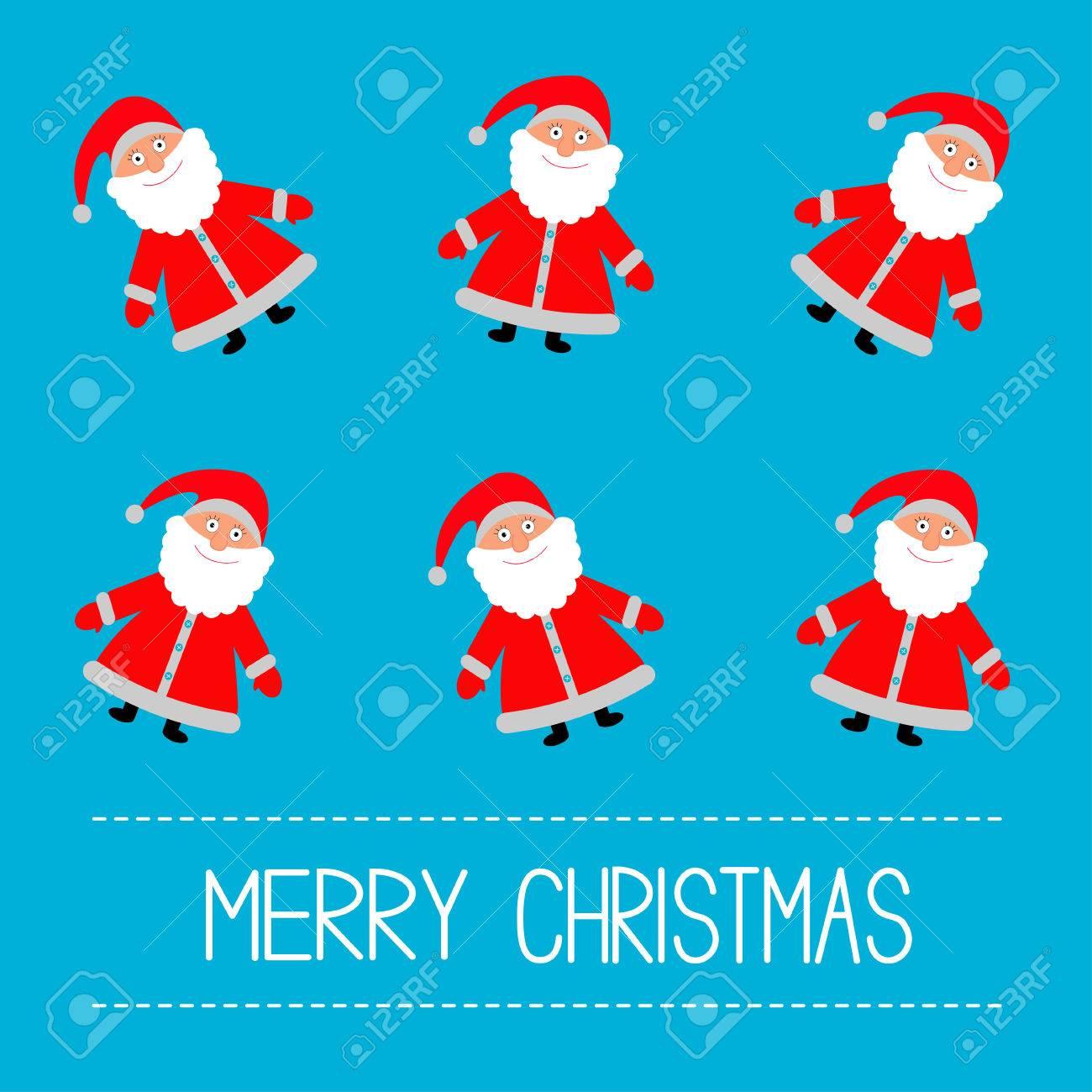 Carte De Noel Droles.Santas Drôles Fond Bleu Joyeux Carte De Noël Vector Illustration