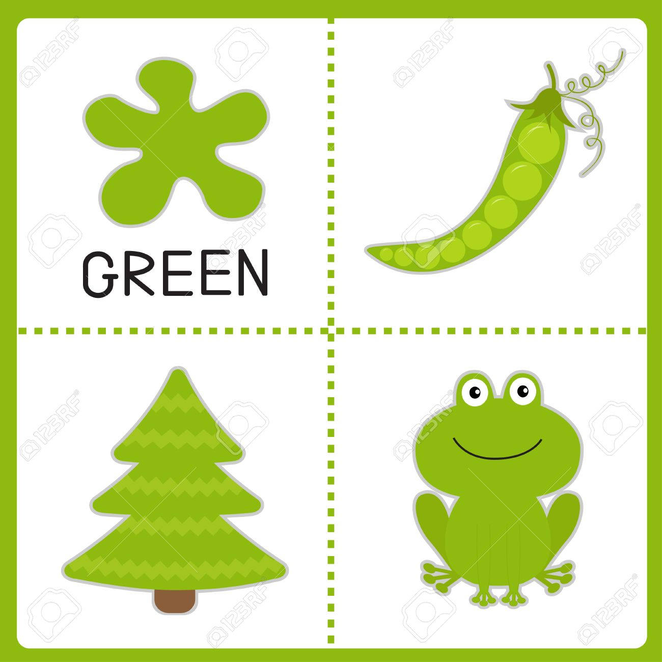 Learning Green Color. Frog, Green Pea And Fir Tree. Educational ...