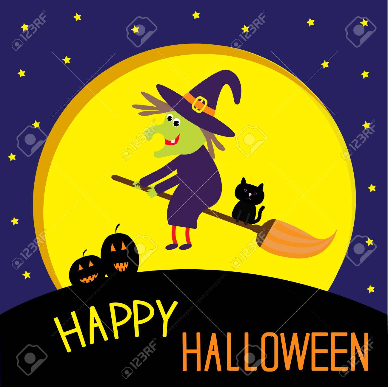 Perfect Flying Cartoon Witch And Cat. Big Moon. Happy Halloween Card. Vector  Illustration.