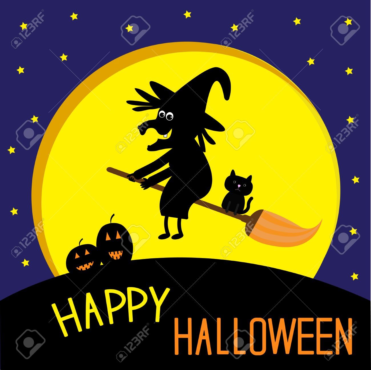 Awesome Flying Black Witch And Cat. Big Moon. Happy Halloween Card. Vector  Illustration.