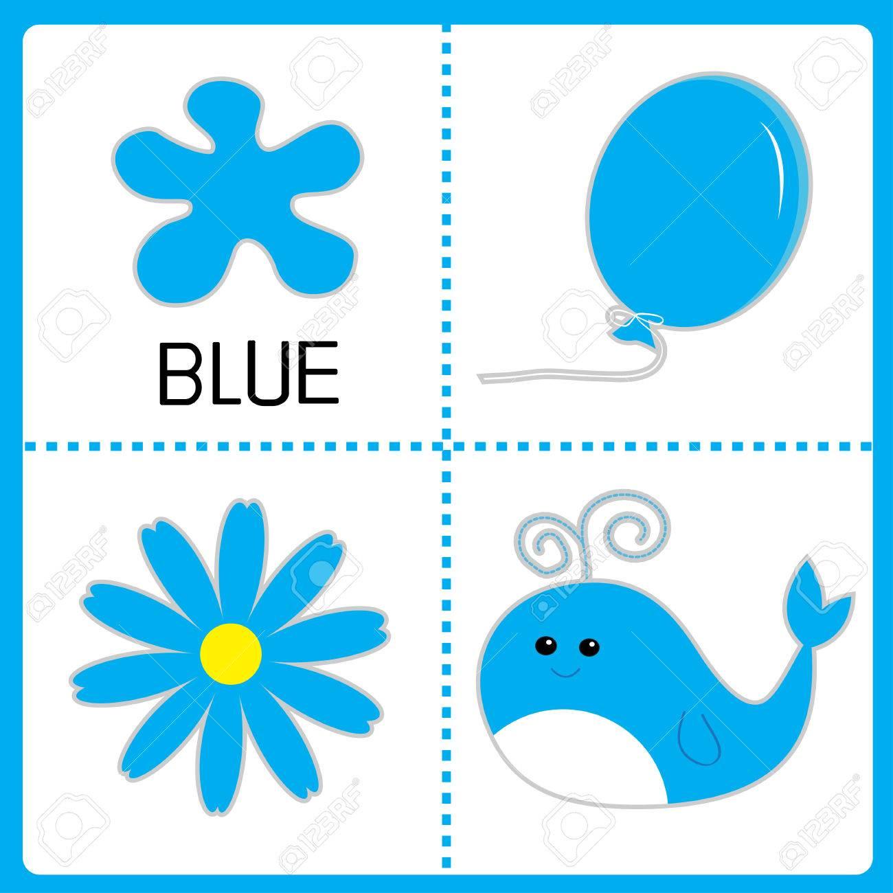 Aprender De Color Azul. Globo, La Flor Y La Ballena. Tarjetas ...