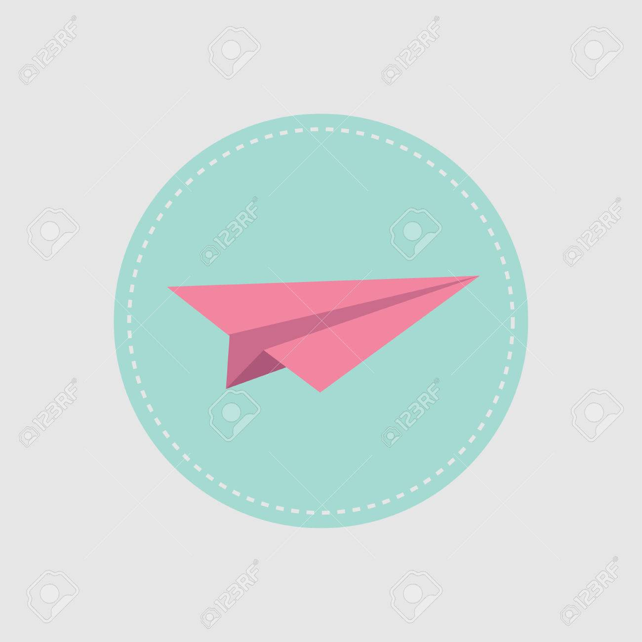 Origami Paper Plane Icon Round Dash Line Flat Design Style Vector Illustration Stock