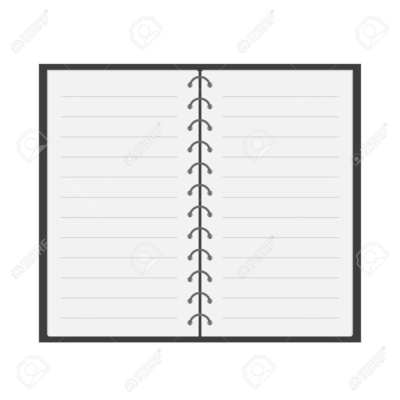 Open Notebook With Spiral And Blank Lined Paper. Flat Design ...