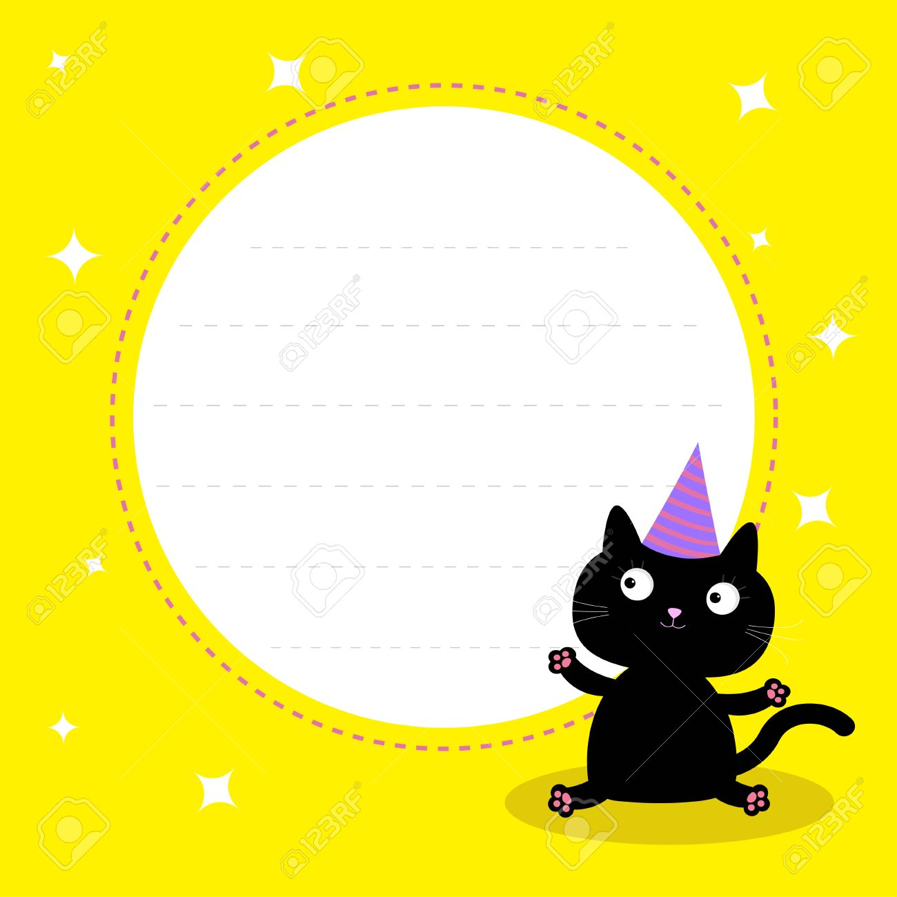 Frame With Cute Cartoon Black Cat Hat Happy Birthday Party Card Vector Illustration
