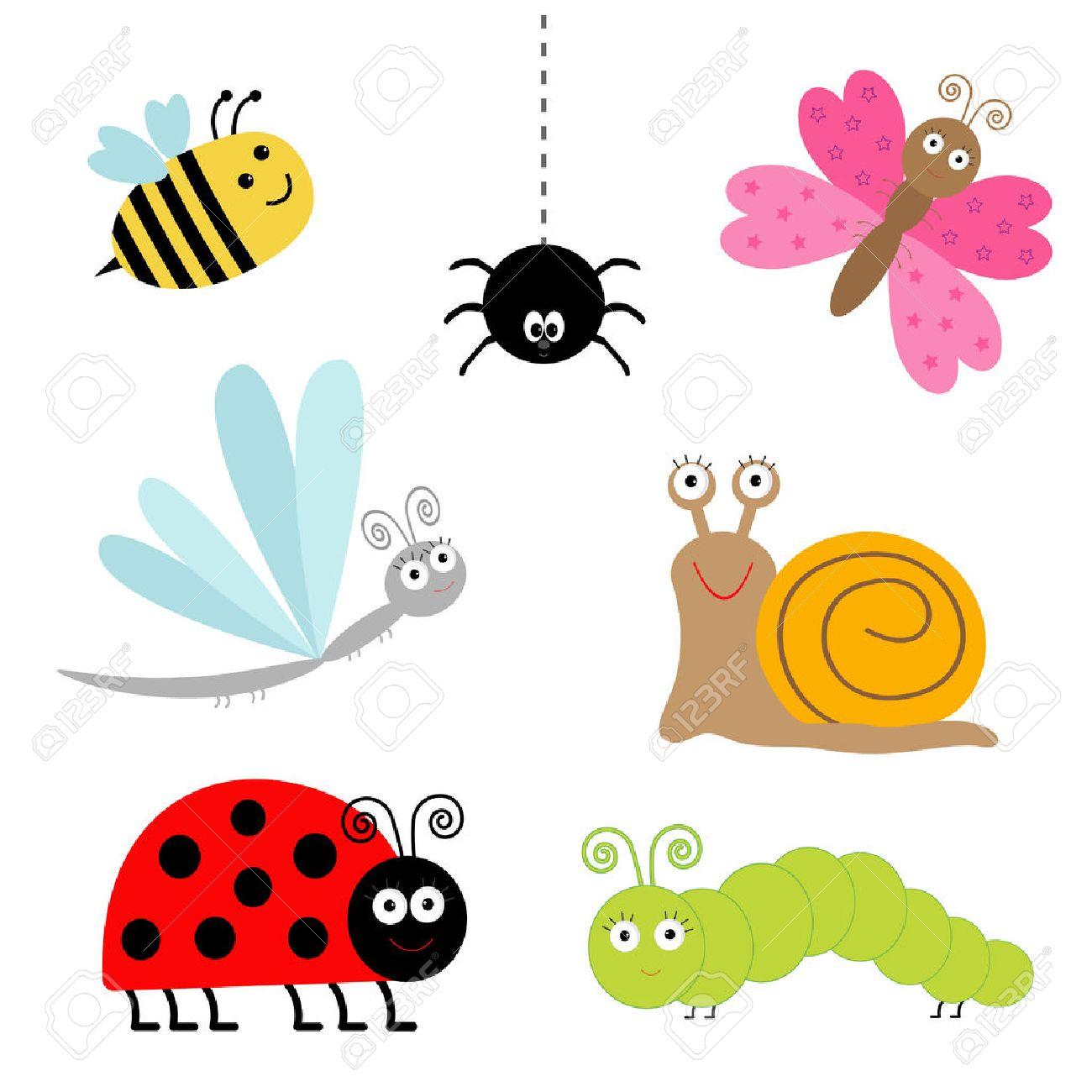 Sistema Lindo Insecto De La Historieta. Mariquita, Libélula ...