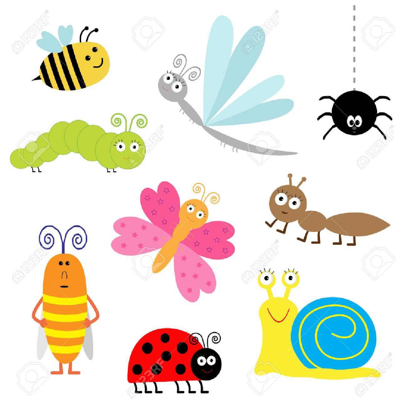 Cute Cartoon Insect Set Ladybug Dragonfly Butterfly Caterpillar Royalty Free Cliparts Vectors And Stock Illustration Image 29617155