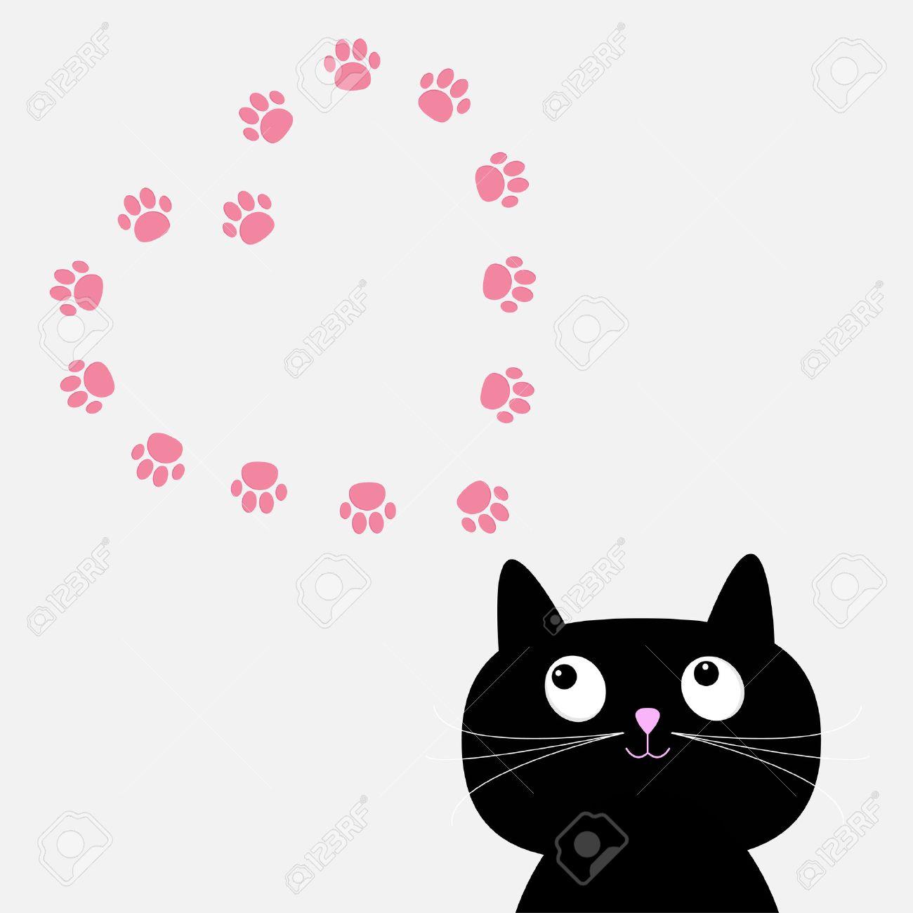 Gran Gato Negro Y El Corazón Impresión De La Pata Plantilla De ...