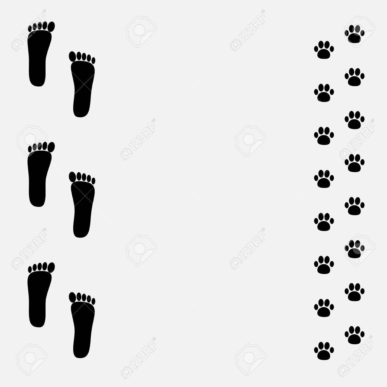 Nackten Fuß Print-und Tatzendruck Schwarzen Rahmen. Vektor ...
