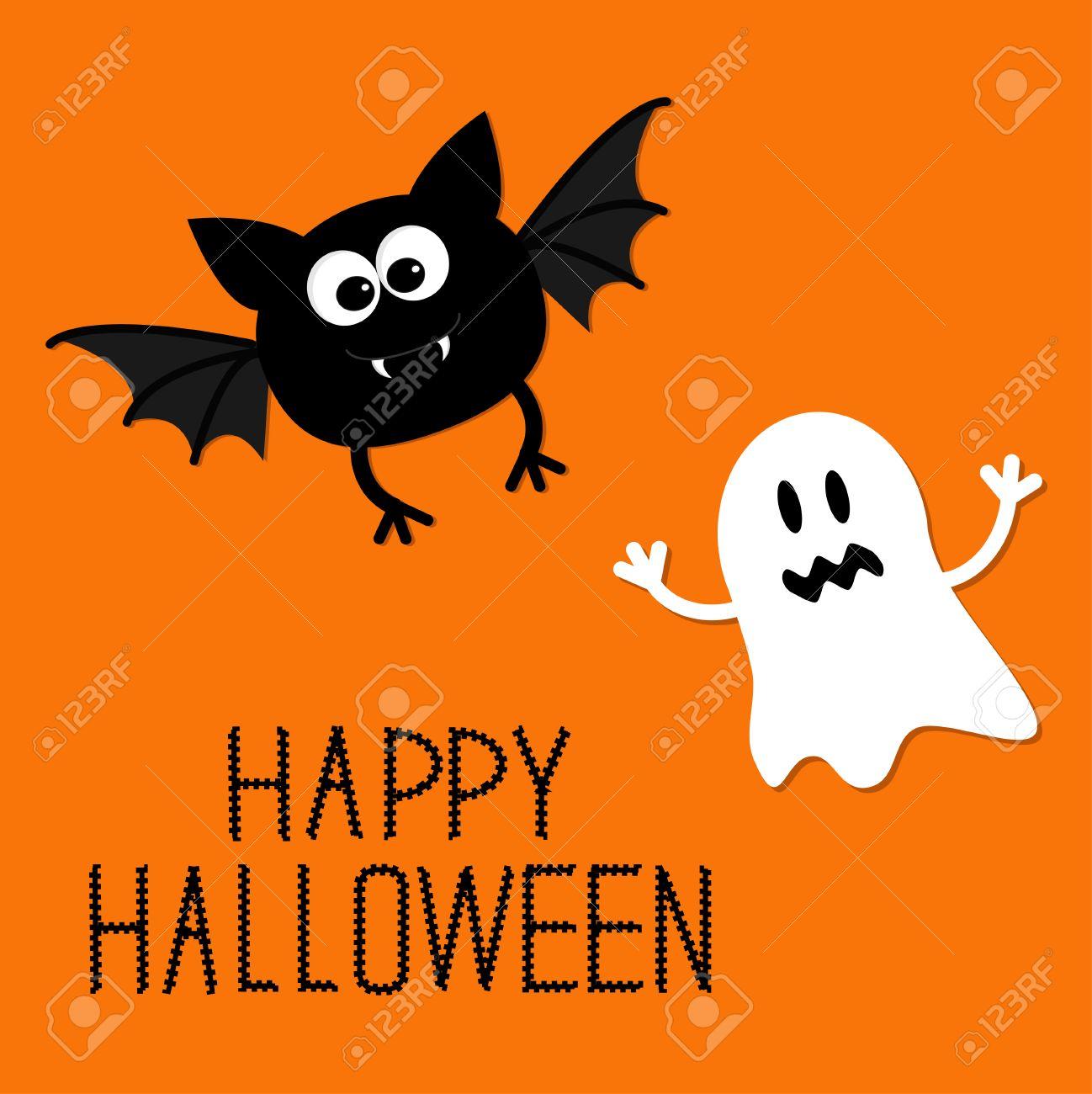 Chauve Souris De Dessin Animé Mignon Et Fantôme Carte Happy Halloween Design Plat Vector Illustration