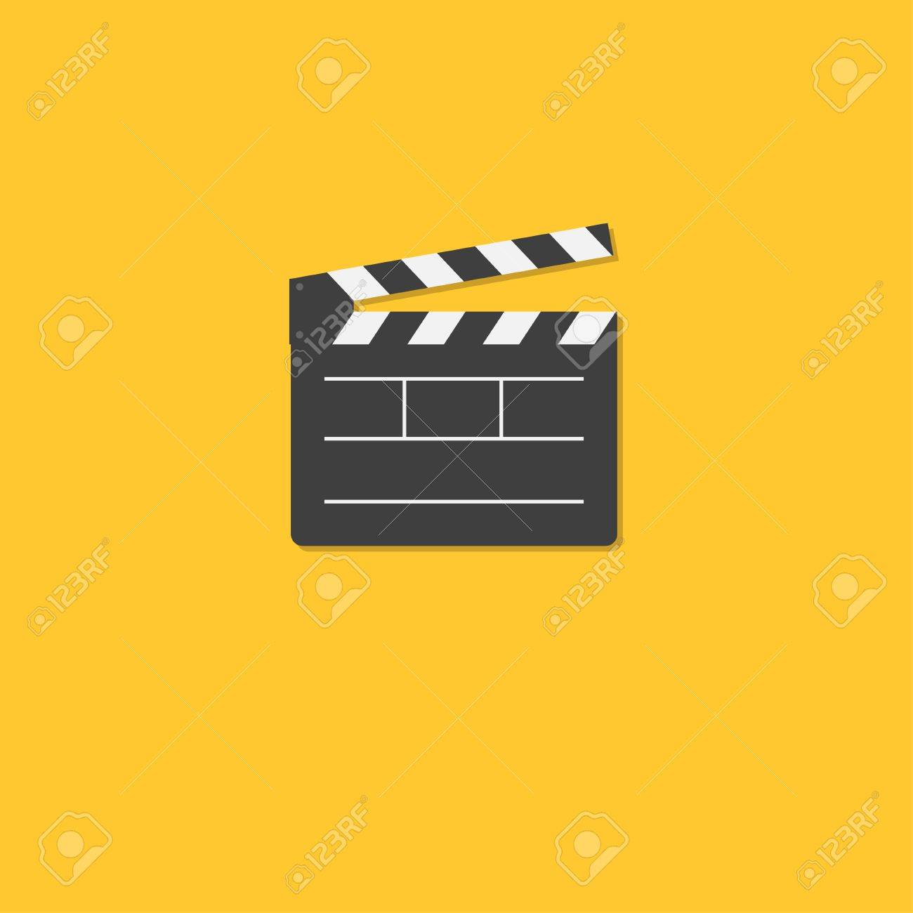 open movie clapper board template icon. flat design style. vector, Powerpoint templates
