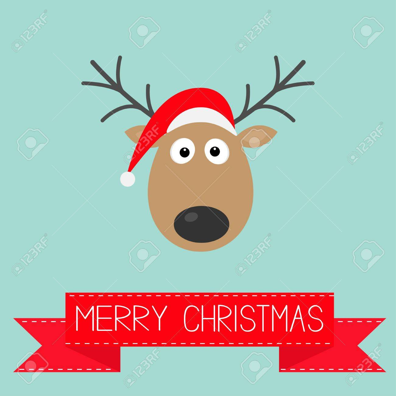 Cute Cartoon Deer With Horns And Red Santa Claus Hat Merry Christmas Background Card Flat Design