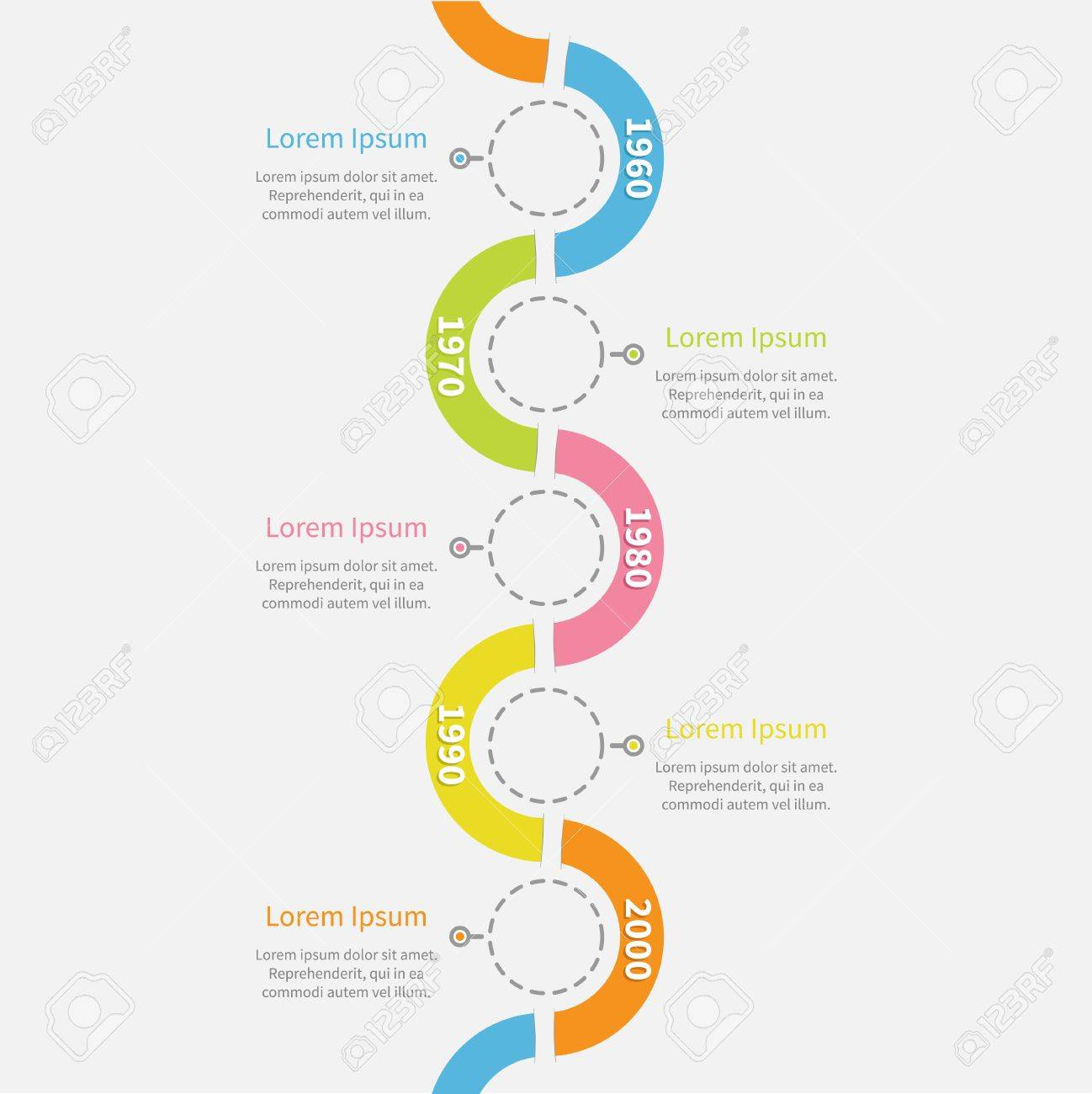 timeline vertical infographic with snail shape ribbon dash line