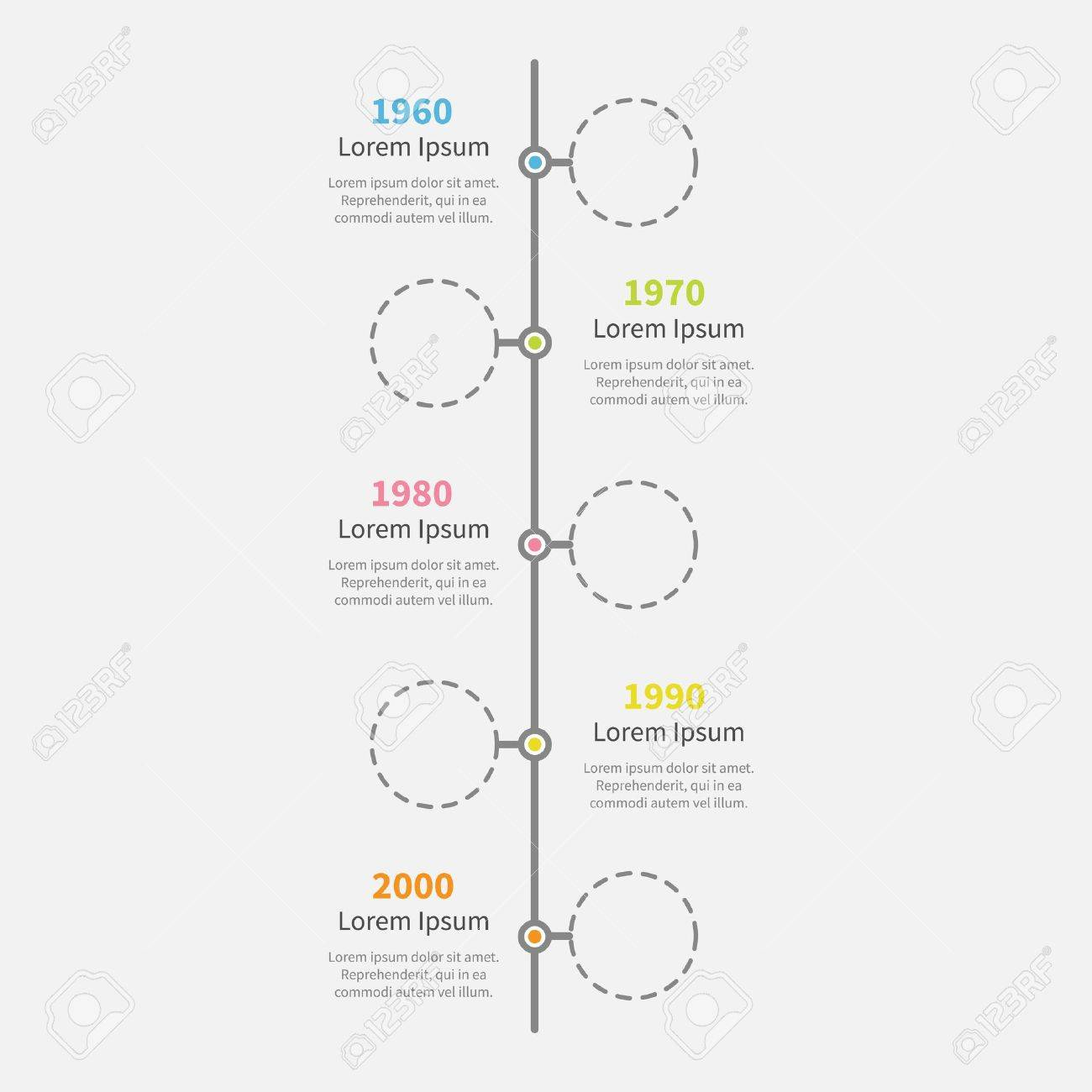 timeline vertical infographic with empty dash line circles and