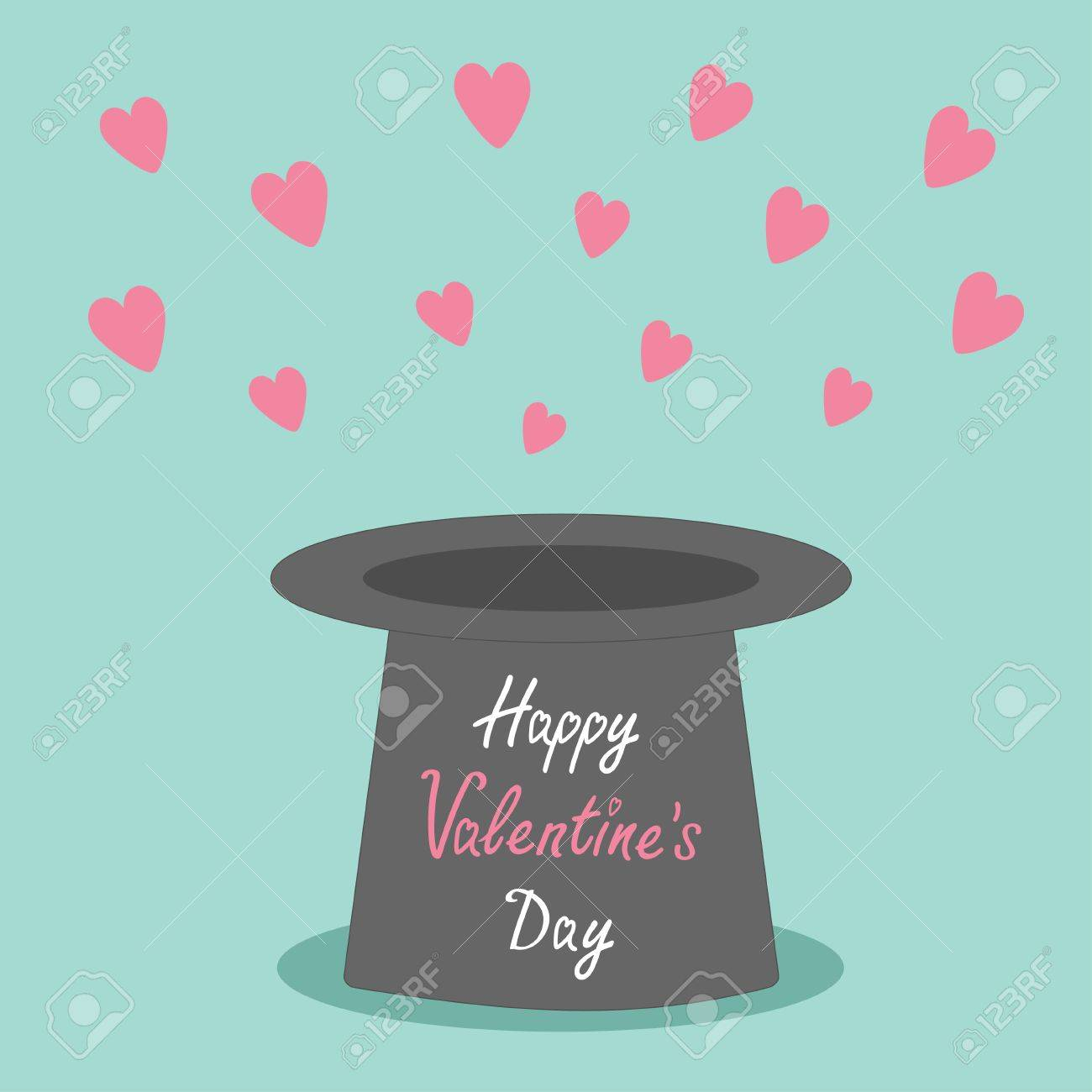 0c21b69f46e ... Valentines day card Vector illustration. Magic black hat with flying  pink hearts on blue background.. Flat design style Happy