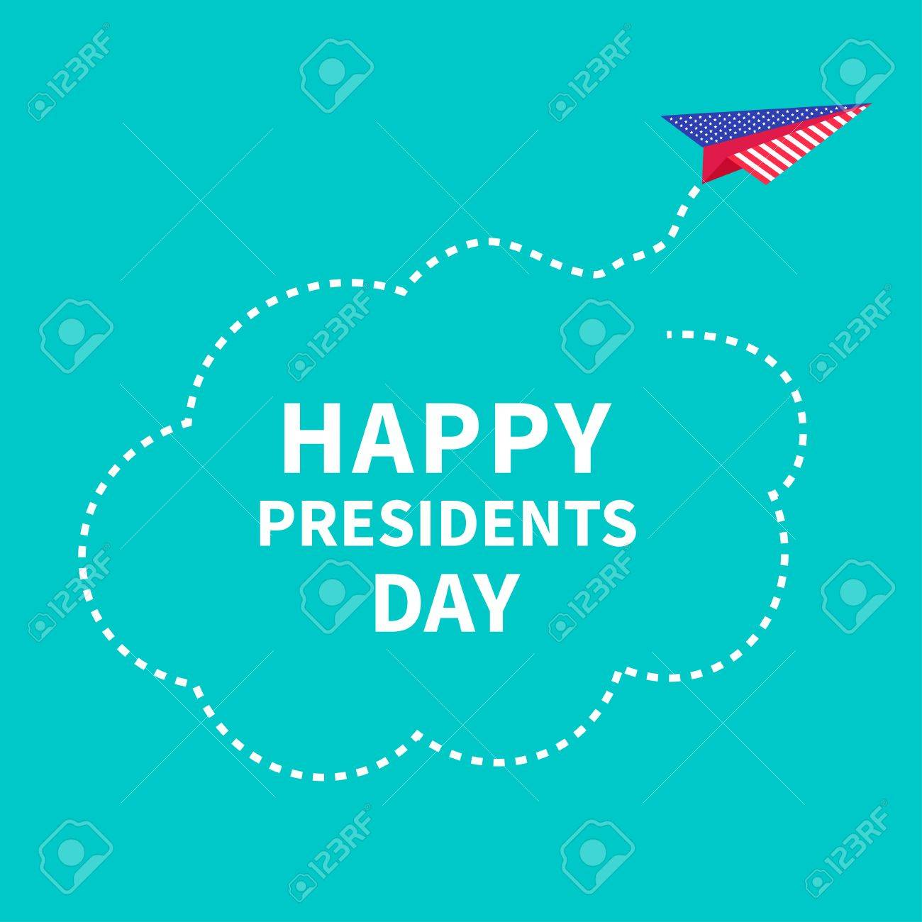 presidents day background paper plane dash line cloud vector