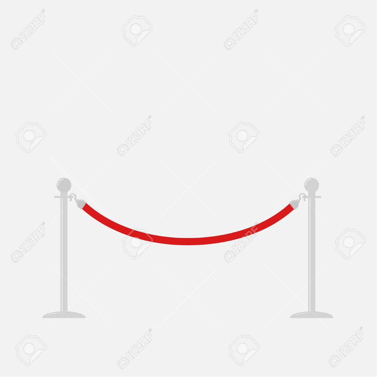 Red Rope Barrier Stanchions Turnstile Isolated Template Flat ...