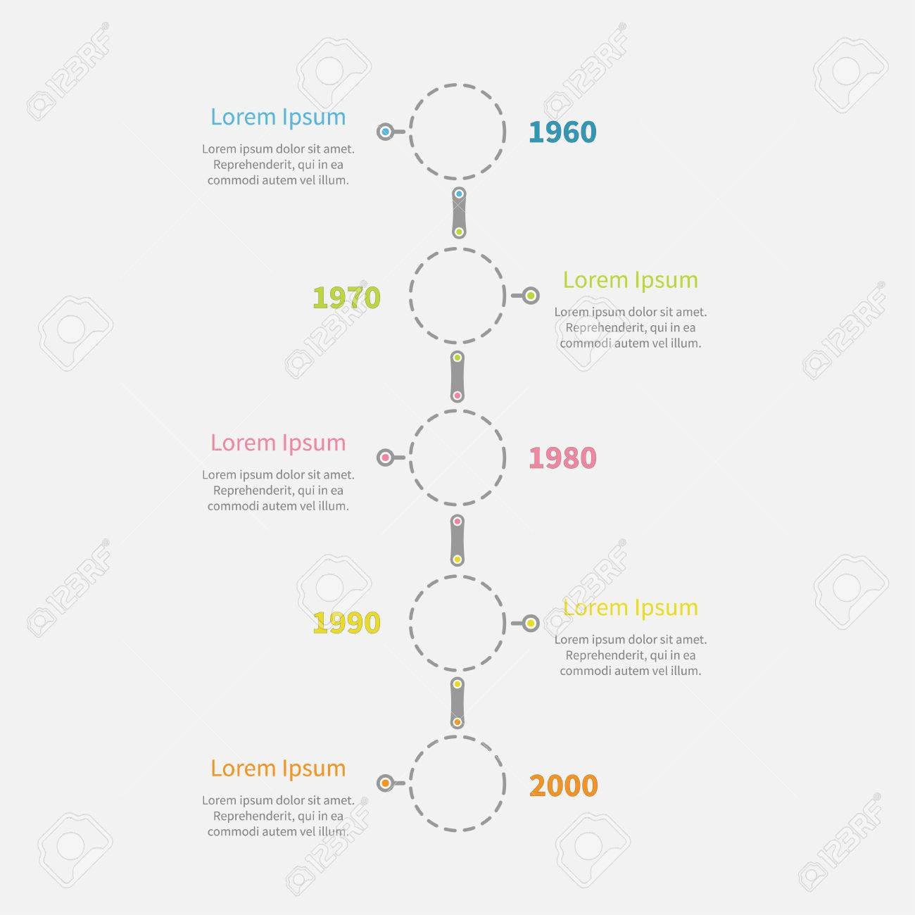 dash line round icon timeline vertical infographic with text