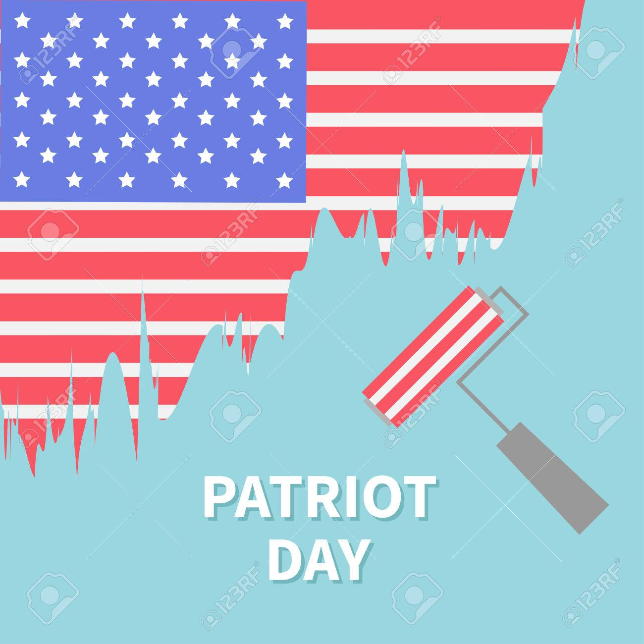 paint roller brush star and strip flag patriot day flat design paint roller brush star and strip flag patriot day flat design stock vector 43961588