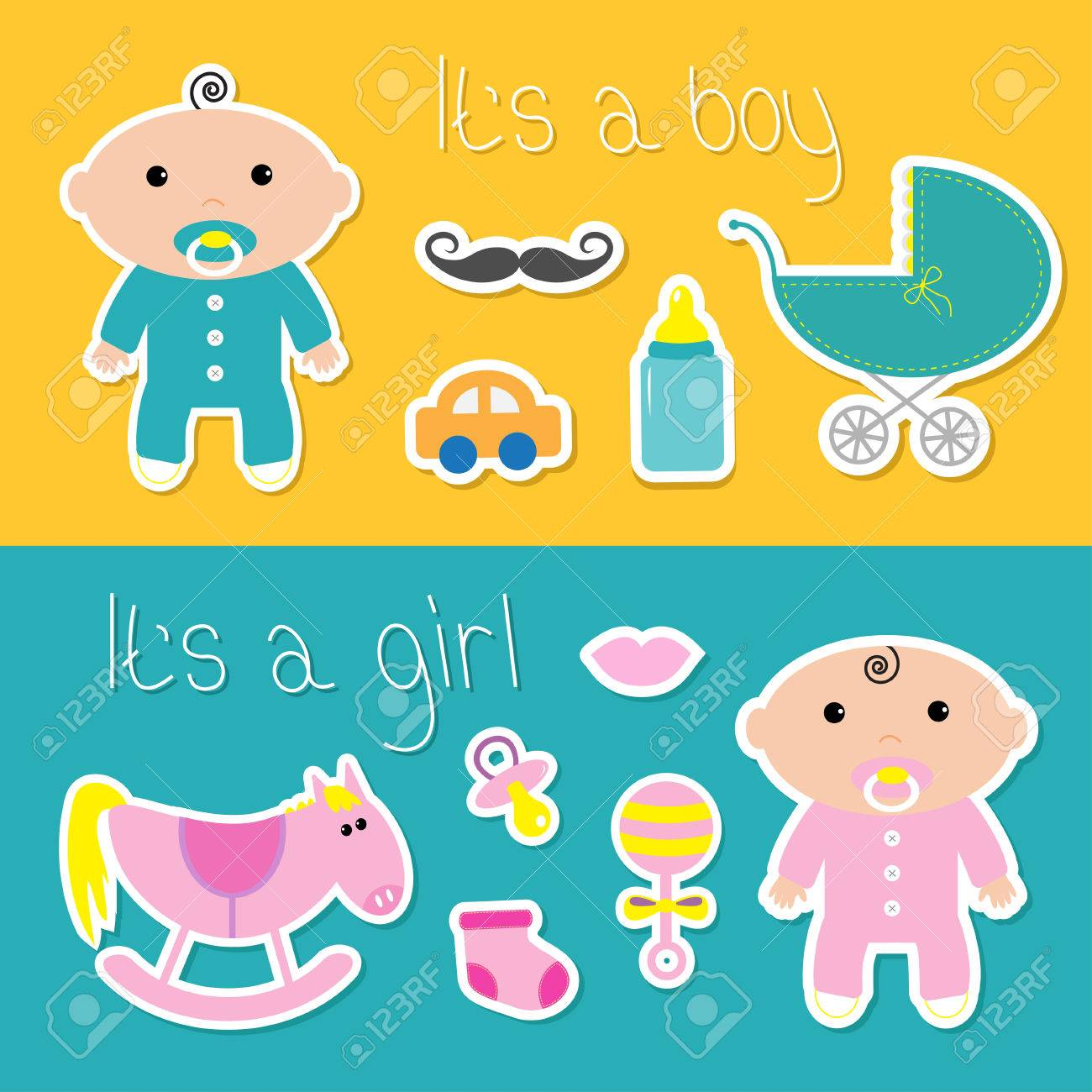 its a boy girl banner set baby shower card with bottle horse