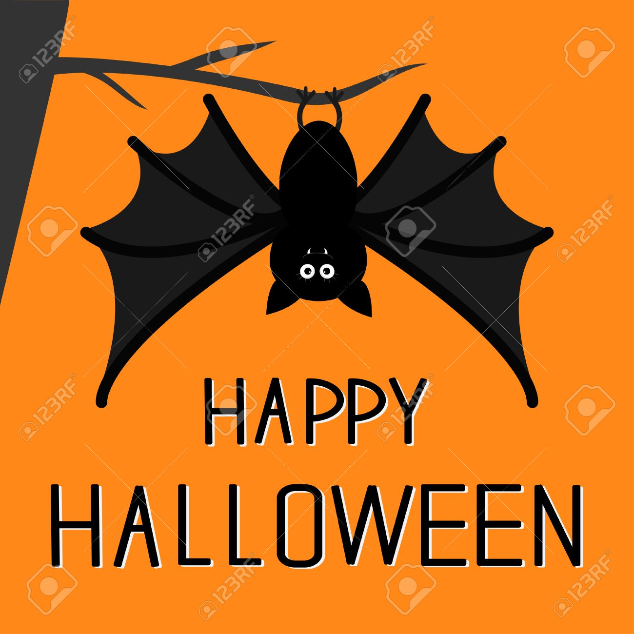 cute bat hanging on the tree happy halloween card flat design