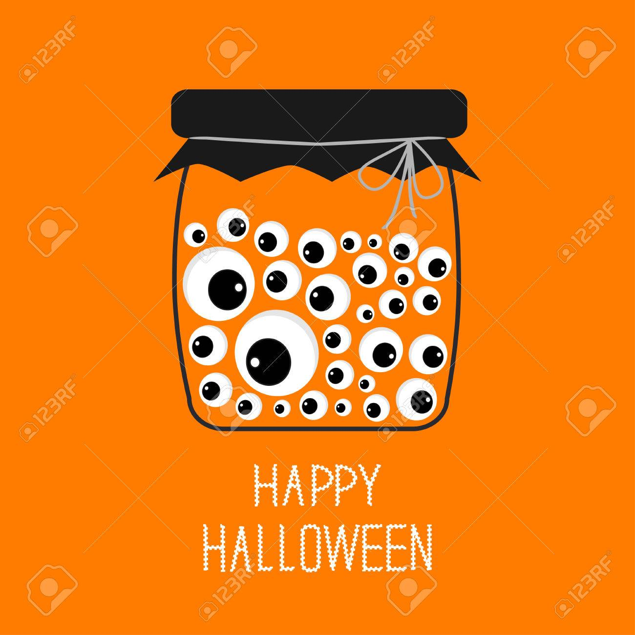 Glass Bottle Jar With Eyeballs Halloween Card. Spooky Orange Background  Flat Design. Vector Illustration