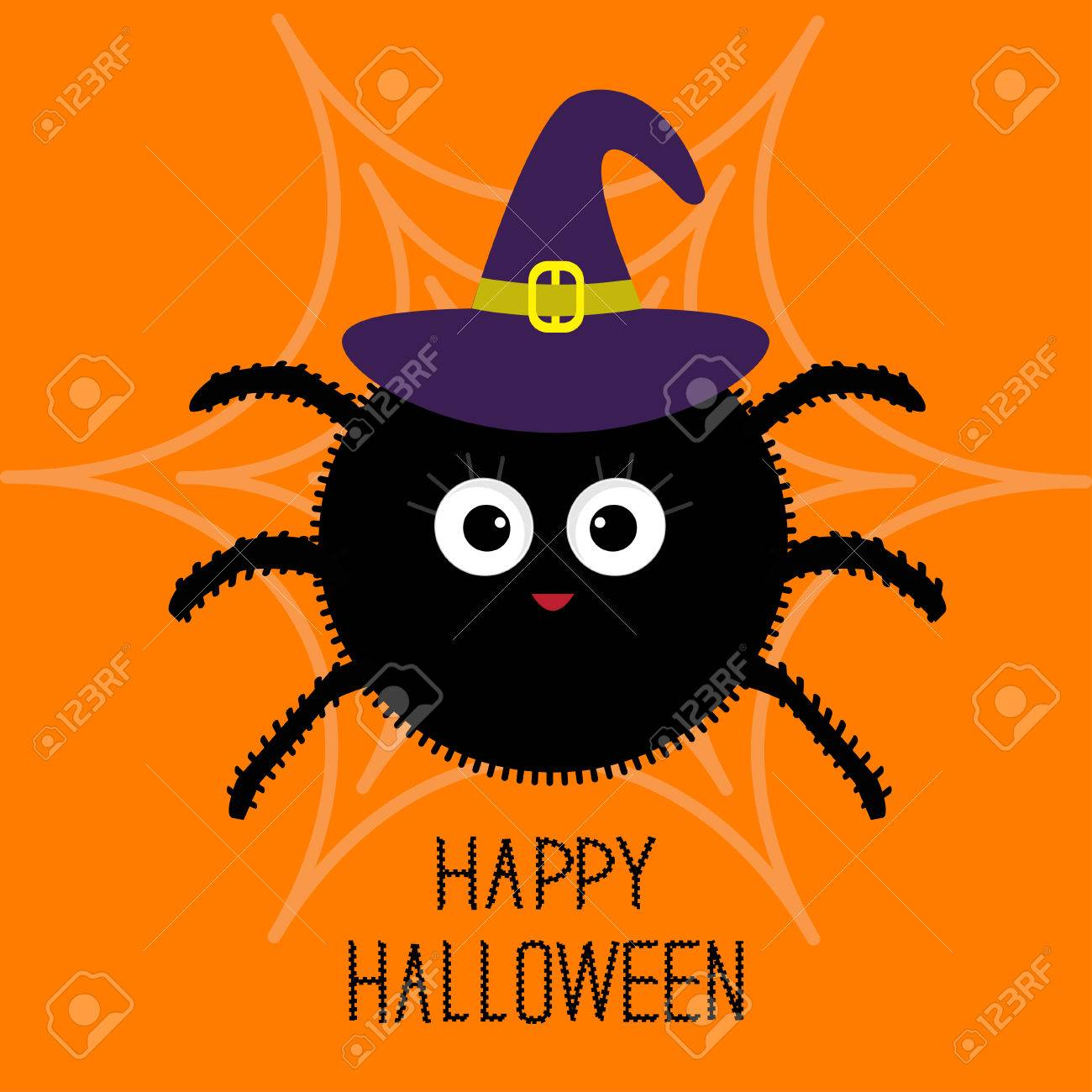cute cartoon fluffy spider on the web witch hat halloween card