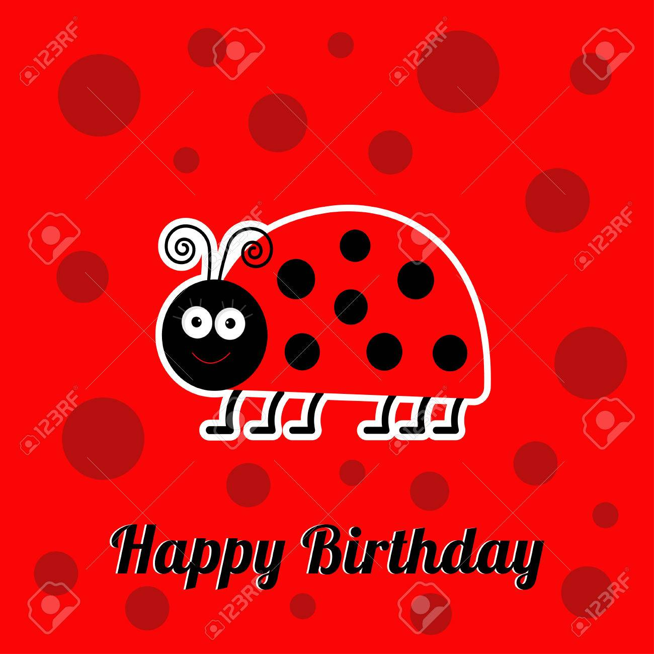 Happy birthday card with cute lady bug ladybird insect baby happy birthday card with cute lady bug ladybird insect baby background flat design stock vector bookmarktalkfo Image collections