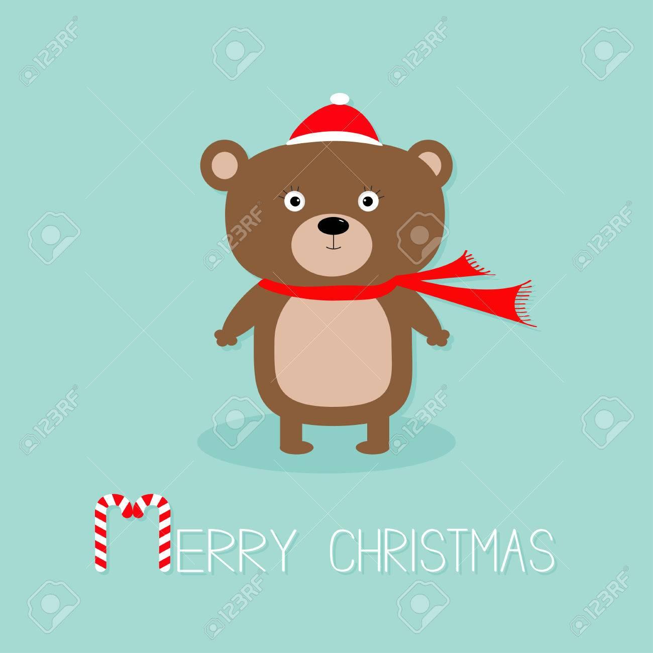 Joyeux Noel Petit Ours Brun.Ours Brun Mignon En Chapeau De Pere Noel Et Une Echarpe Sucre D Orge Carte De Voeux Joyeux Noel Fond Bleu Design Plat Vector Illustration