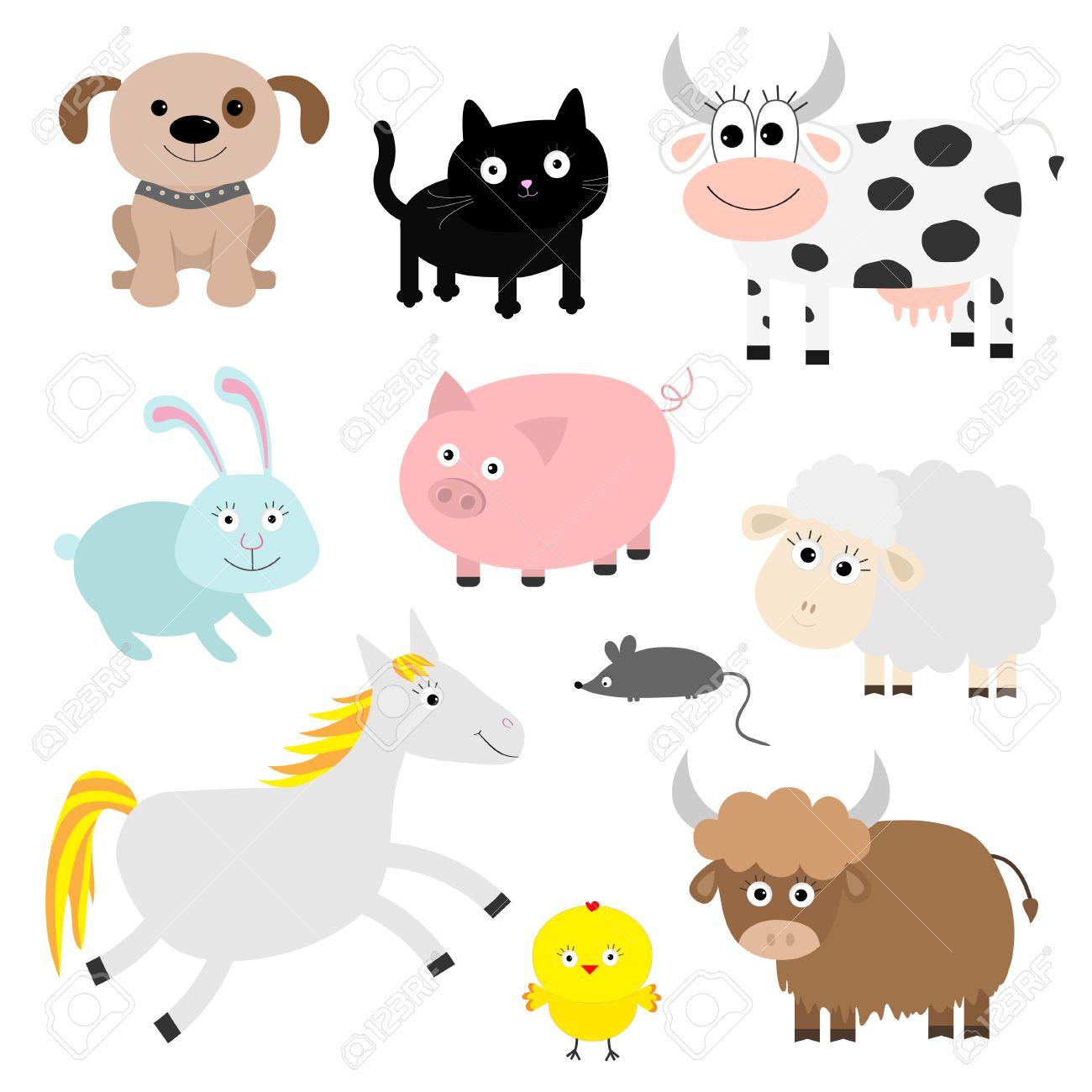 Establece Los Animales De Granja. Perro, Gato, Vaca, Conejo, Cerdo ...