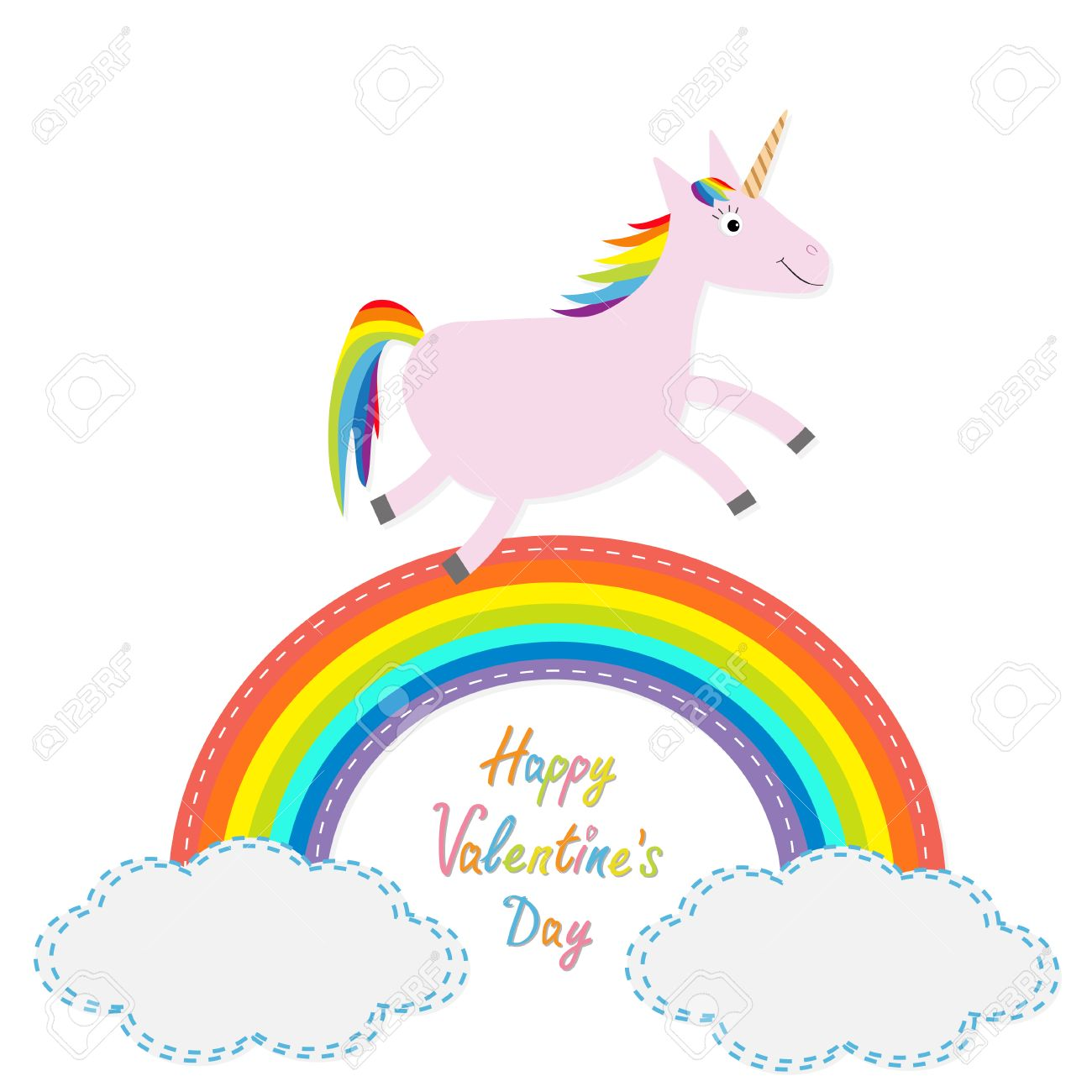 Happy Valentines Day Love Card Rainbow In The Sky Cute Unicorns