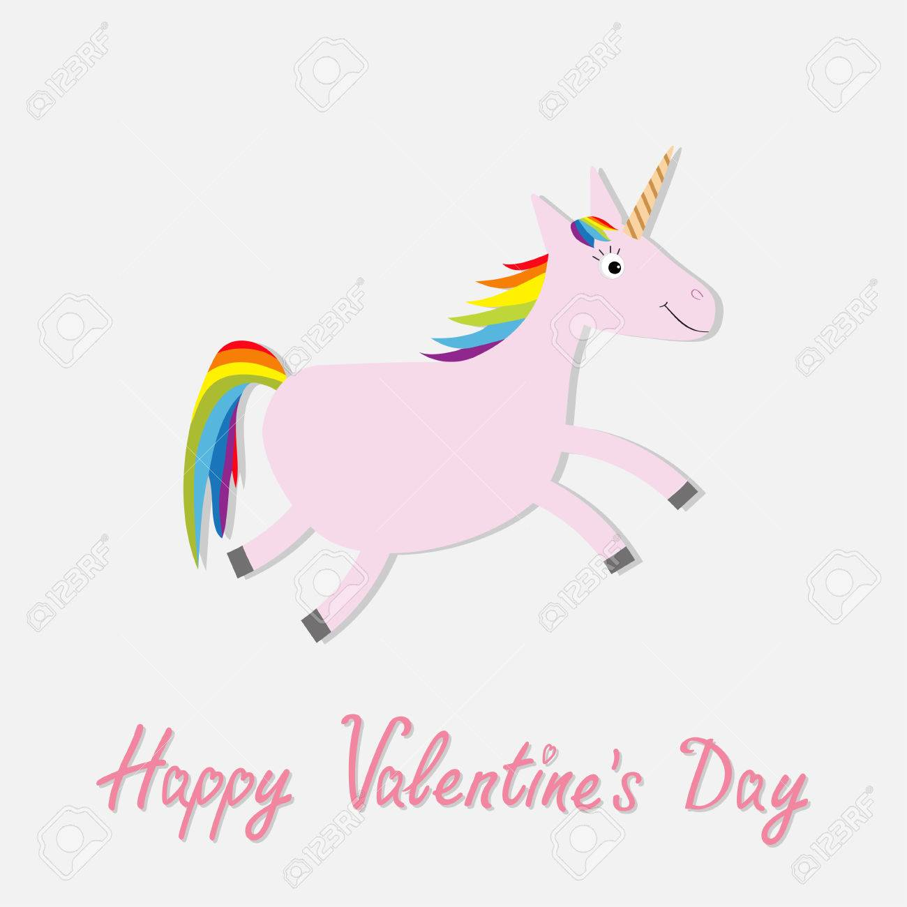 Happy Valentines Day Love Card Cute Unicorn Isolated White