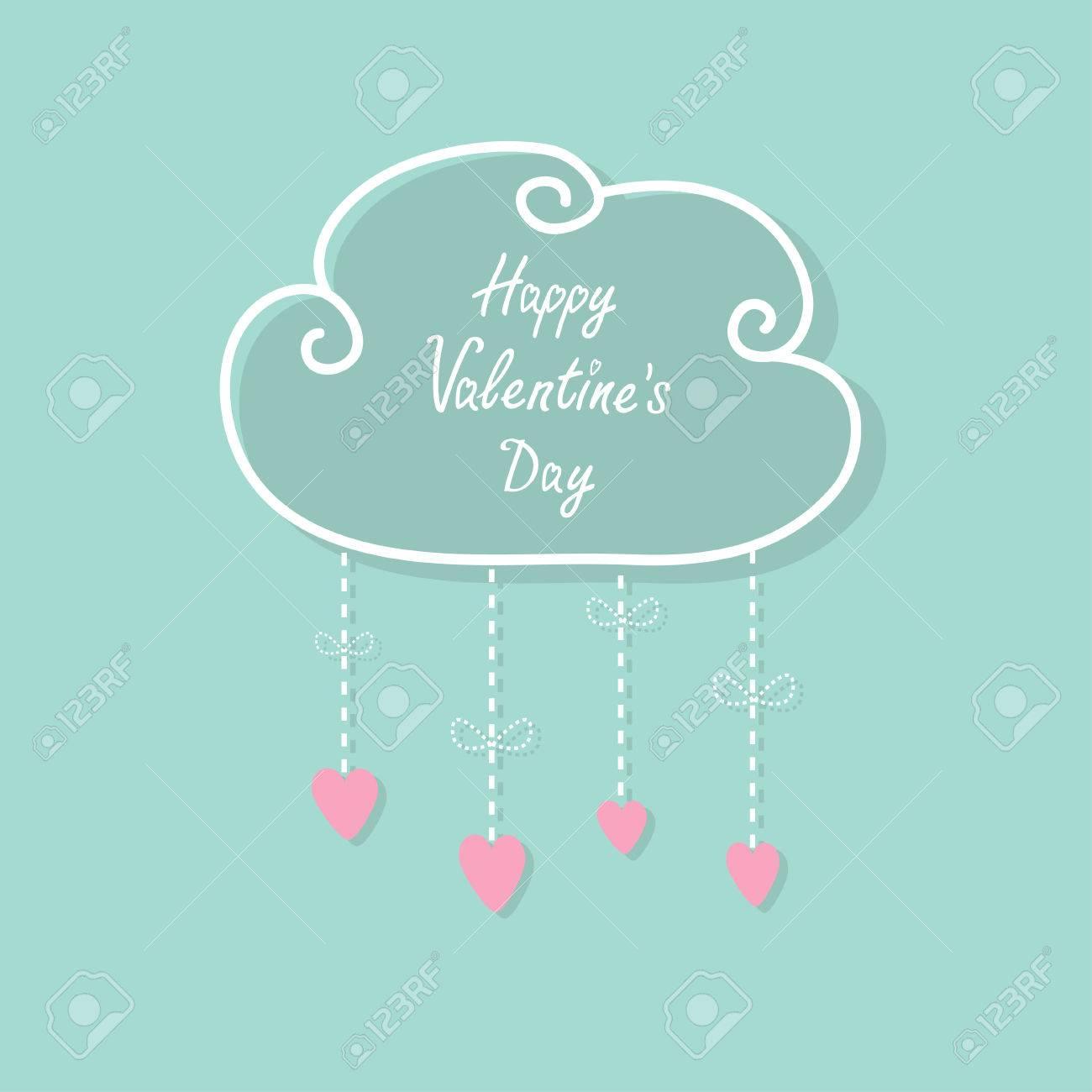 Feliz Día De San Valentín Tarjeta Del Amor Nube Con Gotas Colgando