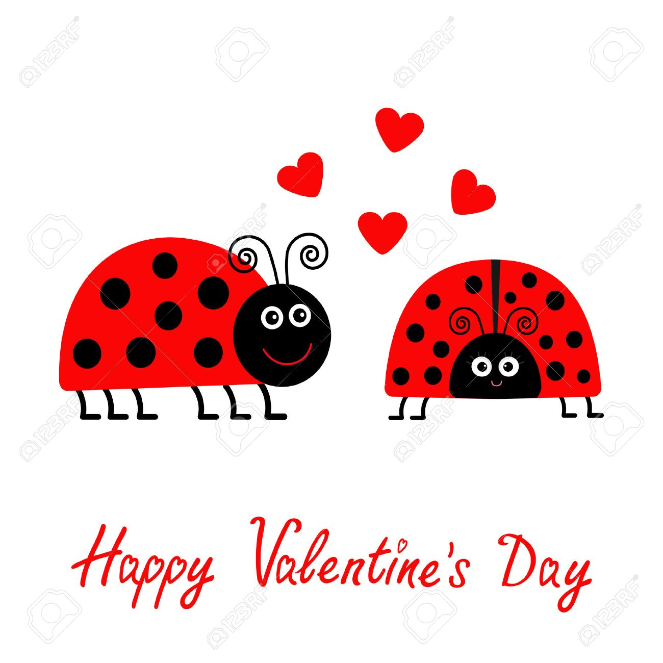 Happy Valentines Day Love Card Two Cartoon Pink Lady Bug Couple