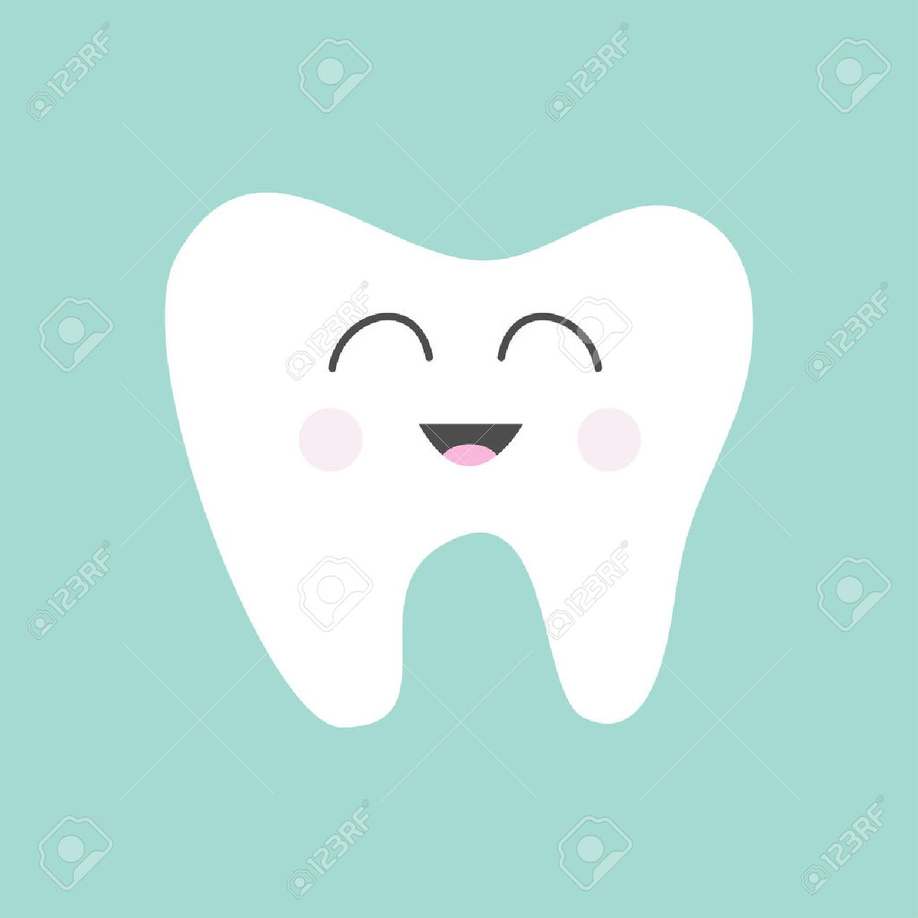 Tooth icon. Cute funny cartoon smiling character. Oral dental hygiene. Children teeth care. Tooth health. Baby background. Flat design. Vector illustration - 51865055