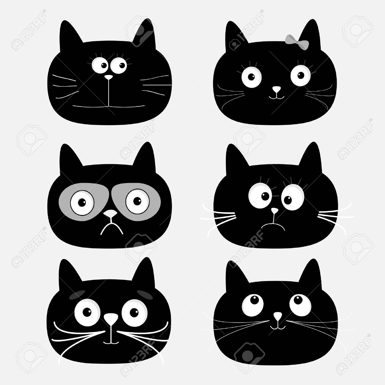 Cute black cat head set. Funny cartoon characters. White background. Isolated. Flat design. Vector illustration - 51865052