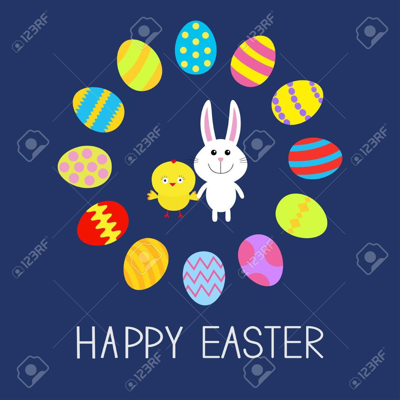 Nettes Häschen Kaninchen Und Huhn Runde Ei Rahmen. Frohe Ostern ...