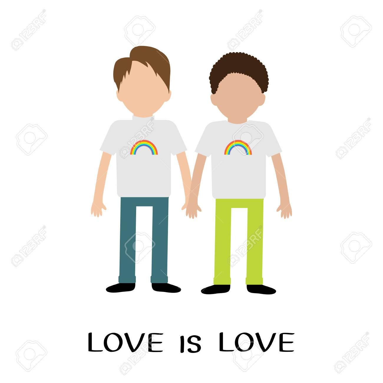 Homofamilie Jongenspaar Regenboog Op Shirt Love Is Love Text